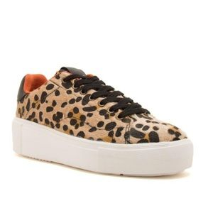Maxmino-01 Camel Black Leopard Lace Up Sneakers